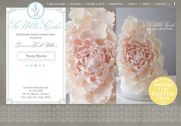 Mule train inc a white cake features the singular and elegant wedding cakes of lauren bohl white we worked with her to create a logo business cards and a website which reheart Gallery